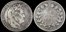 1839 W France 5 Francs - Philippe I - Lille Mint - Second Kingdom - VF