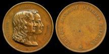 World Coins - 1833 France - Bernardin de St. Pierre et Casimie deLavigne Commemorative Medal by Duchesne Havre
