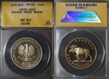 """World Coins - 1978 Poland 100 Zlotych """"Moose"""" Silver Proof - ANACS PF67 DCAM"""