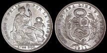 World Coins - 1911 JG-R Peru 1/5 Sol - Republic Coinage - AU