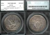 World Coins - 1874 Switzerland (St. Gallen) 5 Franc Shooting Thaler SEGS AU58