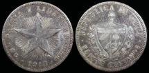 "World Coins - 1916 Cuba 20 Centavos ""Low Relief Star"" VF"