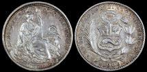 World Coins - 1906 JF Peru 1 Dinero - Republic Coinage - UNC