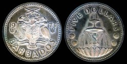 World Coins - 1973 FM Barbados 5 Dollars Silver Proof