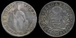 World Coins - 1835 MM Peru 8 Reales VF