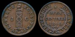 World Coins - 1846 Haiti 2 Centime XF