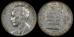 "World Coins - 1953 Cuba 50 Centavos ""Birth of Jose Marti Centennial"" Silver Commemorative XF"