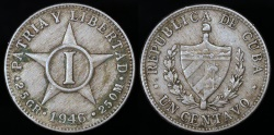 World Coins - 1946 Cuba 1 Centavo - 1st Republic - XF