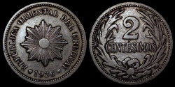 World Coins - 1936 A Uruguay 2 Centesimos - Decimal Coinage - XF