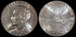 World Coins - 1953 Cuba 1 Peso - Centennial of Jose Marti – Silver Commemorative - BU