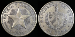 "World Coins - 1934 Cuba 1 Peso ""Star Peso"" - AU"
