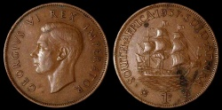 World Coins - 1937 South Africa 1 Penny - George VI - AU