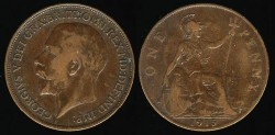 World Coins - 1915 Great Britain Penny - George V
