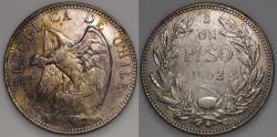World Coins - 1902 Chile 1 Peso - Defiant Condor - AU Silver