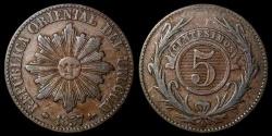 World Coins - 1857 D Uruguay 5 Centesimos - Decimal Coinage - XF
