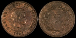 World Coins - 1891 Portugal 20 Reis - Carlos I - UNC