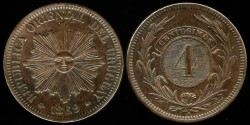 World Coins - 1869 A Uruguay 4 Centesimos (KM-13) UNC.