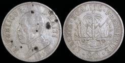 World Coins - 1907 Haiti 20 Centimes - President Pierre Nord Alexis