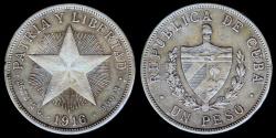 "World Coins - 1916 Cuba 1 Peso ""Star Peso"" XF"