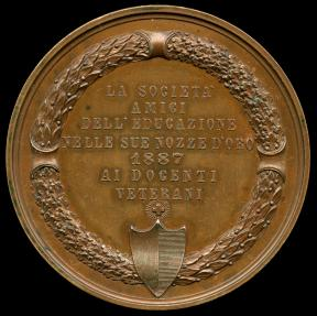 World Coins - 1887 Italy – Stefano Franscini (Society Founder); Jubilee Medal for the Ticinese Society of Friends of Public Education by Francesco Grazioli