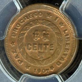 World Coins - 1907 Honduras 1 Centavo PCGS MS63 (Red Brown)