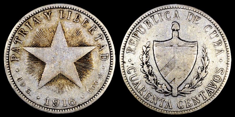 World Coins - 1916 Cuba 40 Centavos F