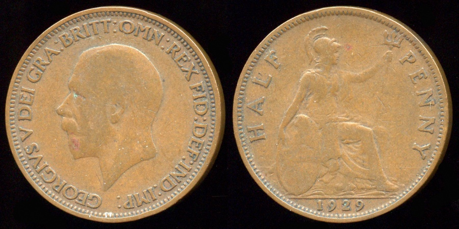 World Coins - 1929 Great Britain 1/2 Penny XF