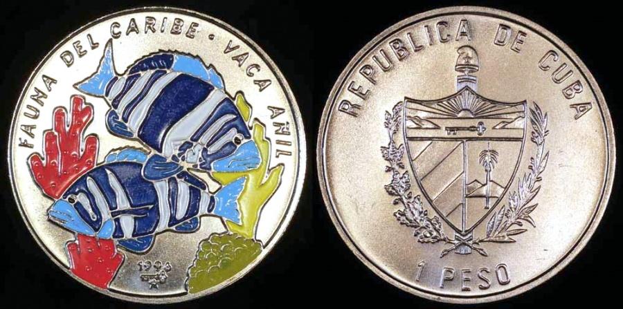 World Coins - 1996 Cuba 1 Peso - Multi-colored Vaca Anil Fish - Caribbean Fauna - BU (Only 10,000 Pieces Were Struck)