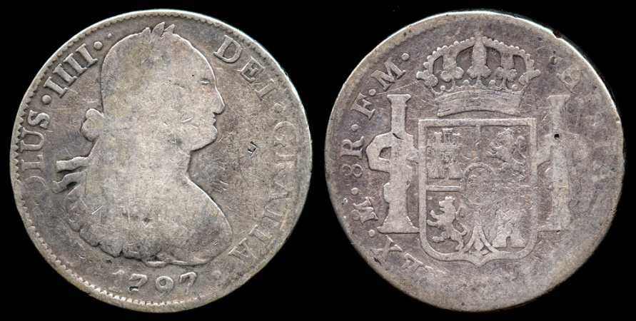 World Coins - 1797 MoFM Mexico 8 Real - Carolus IIII - F