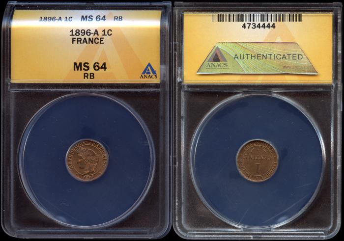 World Coins - 1896 A France 1 Centime ANACS MS64 RED-BROWN