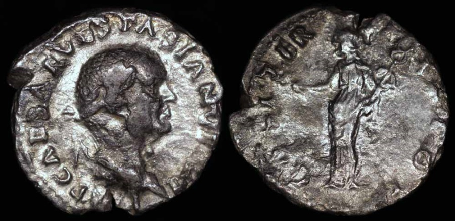 Ancient Coins - Vespasian Denarius - COS ITER TR POT - Rome Mint