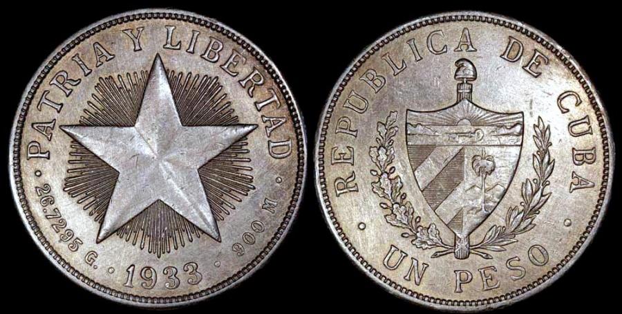 World Coins - 1933 Cuba 1 Peso - Star Peso - AU Silver