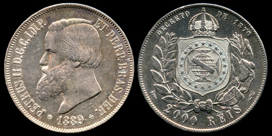 World Coins - 1889 Brazil 2000 Reis - Petrus II - AU Silver