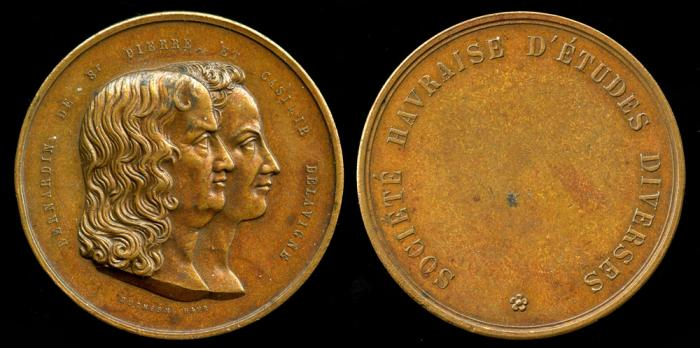 World Coins - 1833 France - Bernardin de St. Pierre et Casimie deLavigne Commemorative Medal by Duchesne Havre