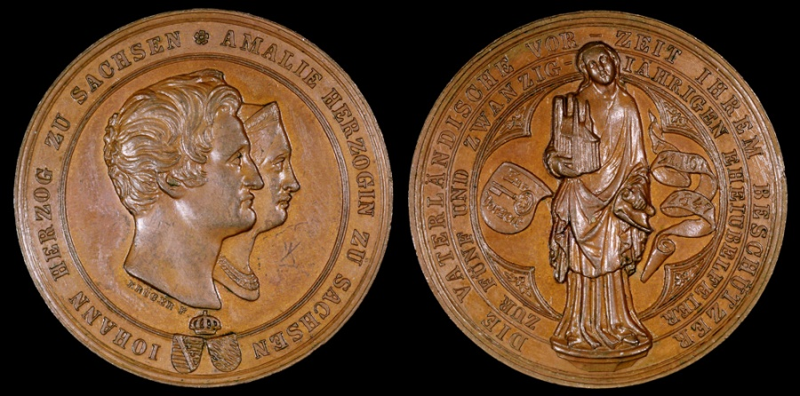 World Coins - 1847 Germany - Johann Duke of Saxony and Amalie Duchess of Saxony; 25th Anniversary of their Marriage by Christian Joseph Krueger