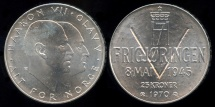 World Coins - 1970 Norway 25 Kroner - 25th Anniversary of Liberation Silver Commemorative BU