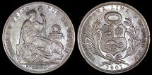 World Coins - 1901 JF Peru 1/5 Sol - Republic Coinage - AU