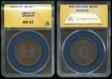 World Coins - 1869 A Uruguay 2 Centesimos ANACS MS62