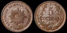 World Coins - 1944 So Uruguay 5 Centesimo - Decimal Coinage - AU