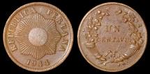 World Coins - 1944 Peru 1 Centavo - Republic Coinage - BU