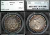 World Coins - 1917 Uruguay 1 Peso SEGS AU55