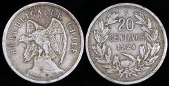 World Coins - 1924 Chile 20 Centavos VF