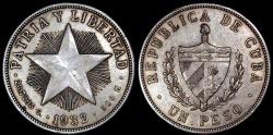 World Coins - 1932 Cuba 1 Peso - Star Peso - AU Silver
