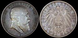 World Coins - 1905 G Germany - Baden 2 Mark - Friedrich I - XF Silver