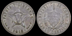 World Coins - 1915 Cuba 5 Centavo - 1st Republic - VF