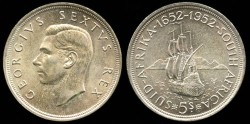 World Coins - 1952 South Africa 5 Shilling UNC