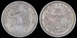 World Coins - 1933 Chile 20 Centavos XF
