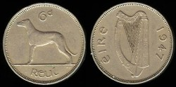 World Coins - 1947 Ireland 6 Pence UNC