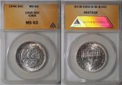 Us Coins - 1946 Iowa Half Dollar - Silver Centennial Commemorative (Only 100,057 were struck) -  ANACS MS63 -