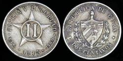 World Coins - 1915 Cuba 2 Centavos - 1st Republic - AU